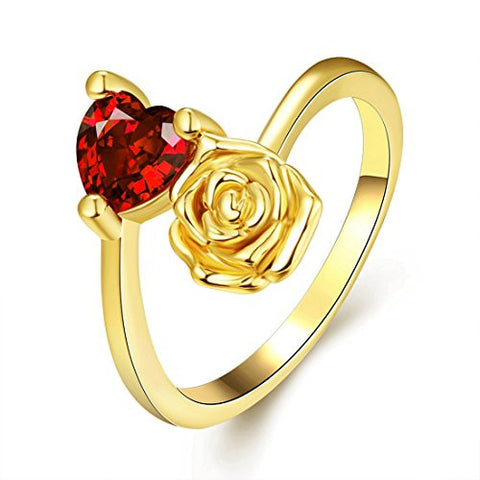 [Eternity Love] Women's Pretty 18K Gold Plated Elegant Imitation Solitaire Ruby Heart Crystal Wedding Engagement Band Rings Best Promise Rings for Her TIVANI Anniversary Collection Jewelry Rings