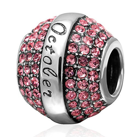 Choruslove Sparkling October Birthstone Charm 925 Solid Sterling Silver Pink Crystal Bead Fits Compatible European Birthday Bracelet Jewelry