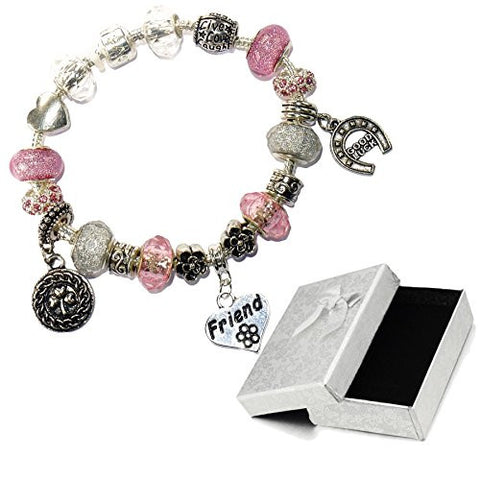 Charm Buddy Friend Pink Silver Crystal Good Luck Pandora Style Bracelet With Charms Gift Box