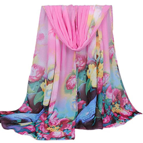 Lisingtool Women's Long Soft Wrap scarf Ladies Shawl Chiffon Scarves (Pink)