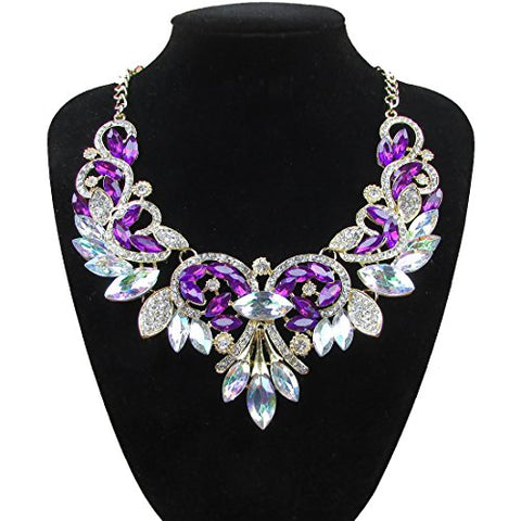Women's Summer Fashion Jewelry AB Color Crystal Choker Statement Necklace Color Purple