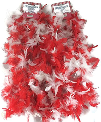 Set of 2 Feather Boa Parties, dress up, decoration 6 ft (Red)