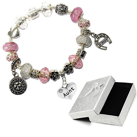 Charm Buddy Aunt Auntie Pink Silver Crystal Good Luck Pandora Style Bracelet With Charms Gift Box