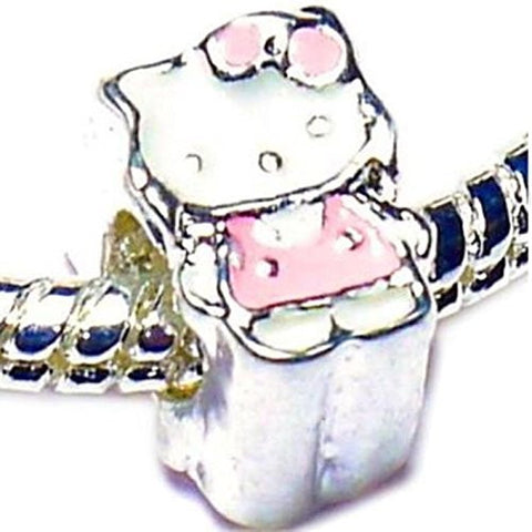 Charm Buddy Pink Hello Kitty Charms Bead Fit Silver Pandora Style Bracelets