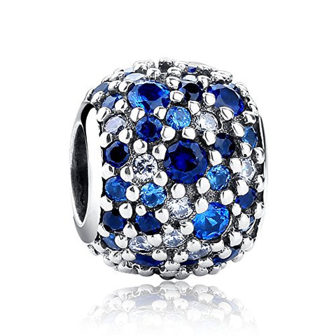 Charm Ocean Mosaic 925 Sterling Silver Charms Fits European Bracelets Compatible (Blue)