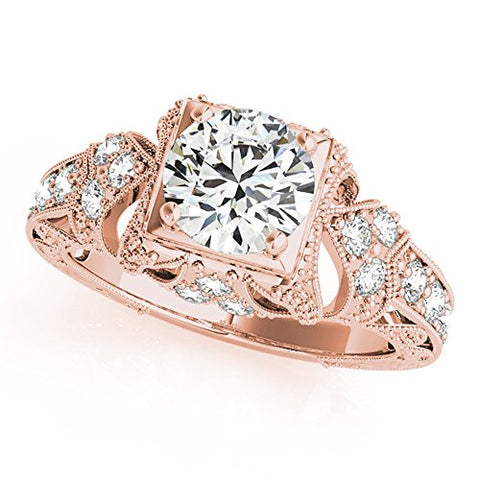Silverczjewels 14k Rose Gold Plated Sterling White Sim Diamond Engagement Wedding Ring