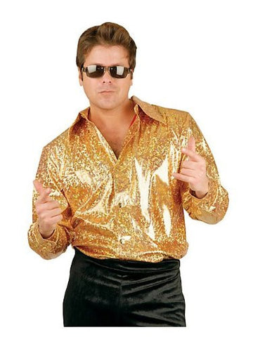 Gold Glitter Hologram Disco Shirt Costume - Large - Chest Size 42