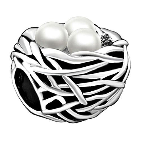 Silver Plated Pearl Nest Gorgeous Charms Bead Fits Pandora Charm Bracelet