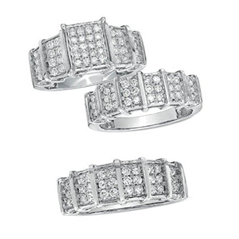 Ultimate Gems His Her Matching Band Bridal 14K White Gold FN Trio Diamond Wedding Ring Set 1.50Ct