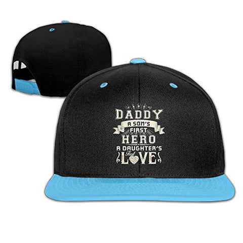 Dad A Son's First Hero A Daughter's First Love Unisex Adjustable Flat Children Baseball Hat