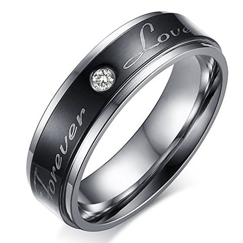 Men's Wedding Bands Classic 6MM Tungsten Titanium Steel Forever Love Promise Rings for Him Rhinestone High Polish Comfort Fit Size 10