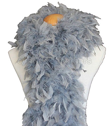 "Cynthia's Feathers 80g 72"" Turkey Chandelle Feather Boas over 30 Color & Patterns (Silver Grey)"