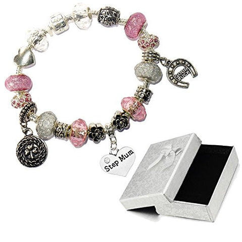 Charm Buddy Step Mum Pink Silver Crystal Good Luck Pandora Style Bracelet With Charms Gift Box
