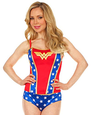 Wonder Woman Corset W/ All Over Print Panty Set (Large)