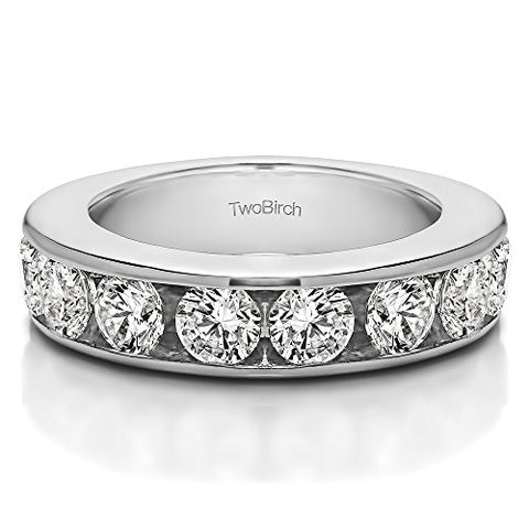 0.25 ct. Cubic Zirconia 10 Stone Open Ended Channel Set Wedding Ring in 10k White Gold (1/4 ct. twt.) (Size 3 to 15 in 1/4 Size Intervals)