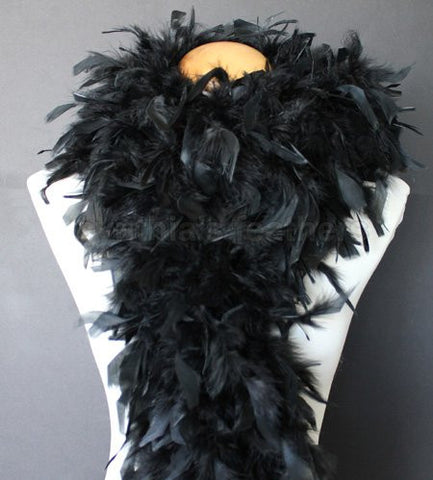 "80 Gram 72"" Turkey Chandelle Feather Boas - MIDNIGHT BLACK"