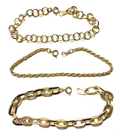 Set of 3 gold tone chain bracelets