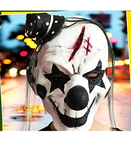 micrkrowen Halloween party cosplay mask Black and white clown horror emulsion Kamen