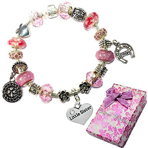 Charm Buddy Little Sister Pink Purple Crystal Good Luck Pandora Style Bracelet With Charms Gift Box