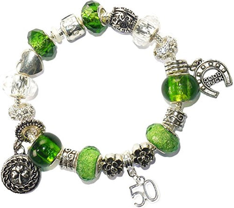 50th Birthday Good Luck Lucky Green Silver Pandora Style Bracelet With Charms Gift Box Jewelry