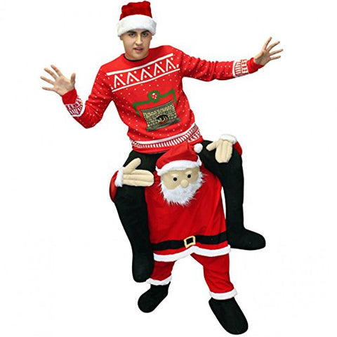Morphsuits Men's Santa Piggyback Costume Adult, Red/White, One Size