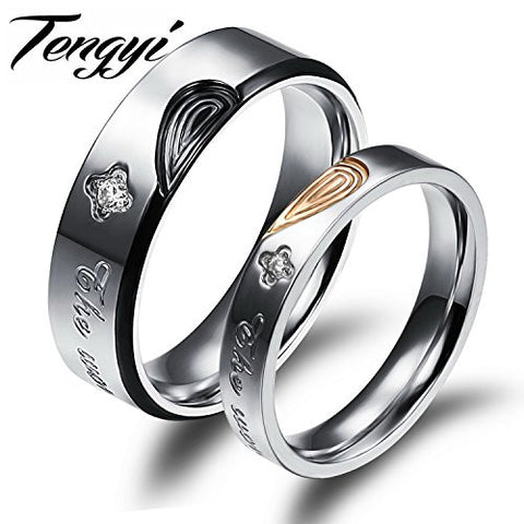 delatcha Jewelry Sweet Anniversary 316L Stainless Steel Heart Crystal Simple Circle Love Couple Ring Wedding Ring TY457