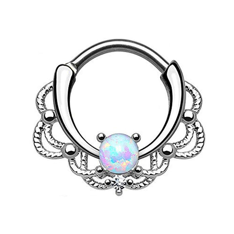 SPARIK ENJOY Septum Jewelry,Lacey Single Opal 16g Septum Hanger Clip On Non No Piercing for Women Girls 1 Packs (White)