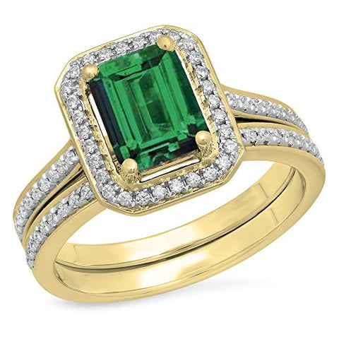 1.60 Carat (ctw) 10K Yellow Gold Forest Green & White Cubic Zirconia CZ Bridal Ring Set (Size 9.5)