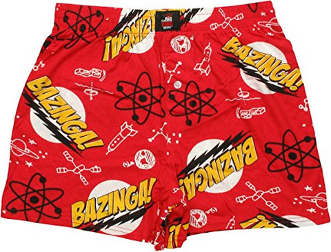 Big Bang Theory Bazinga Pattern Men's Red Box Shorts | M