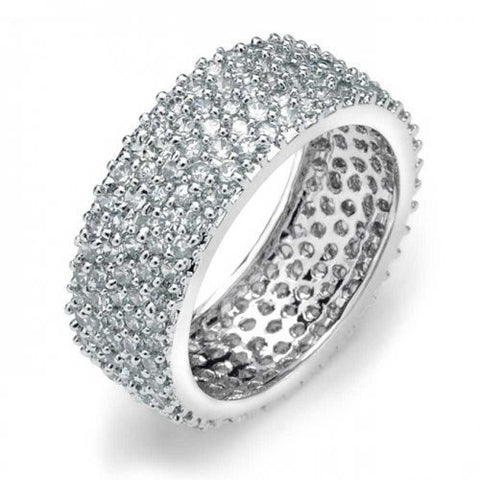 Bling Jewelry 5 Row 925 Sterling Silver Micro Pave Clear CZ Eternity Band