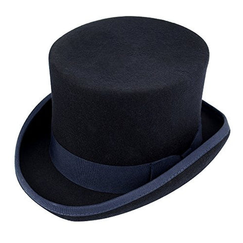 Chuangli Men's 100% Wool Victorian Mad Hatter Top Hat Vivi Magic Hat Performing Cap Navy Blue