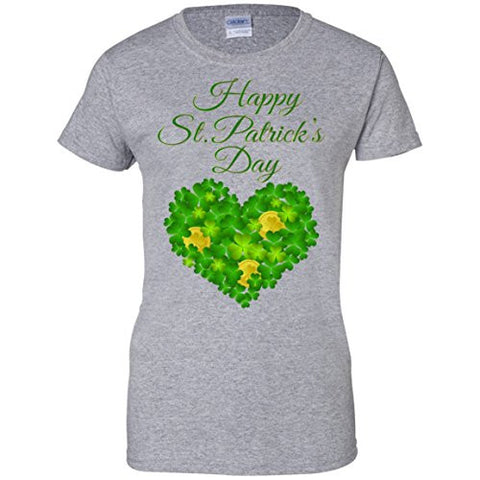 St Patricks Shamrock Heart with Coins Ladies T-Shirt
