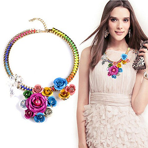 Comiya Womens Rose Flower Choker Necklaces Colorful