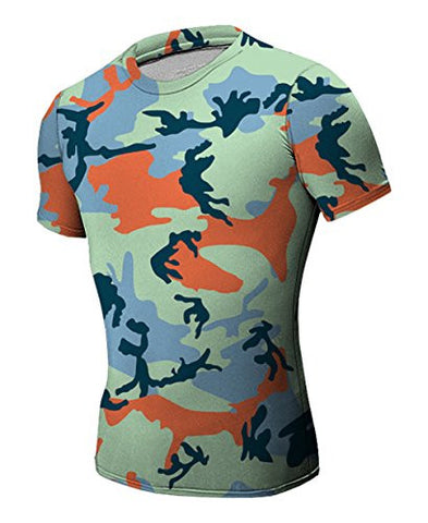 Tanming Men's Printing Camouflage T Shirts Tops (X-Small, C5)