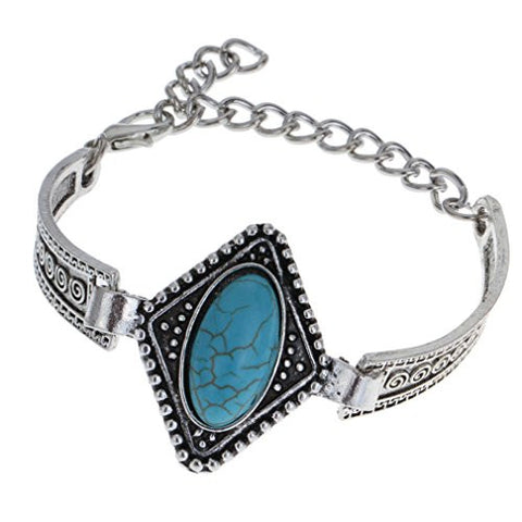 YAZILIND Women Vintage Look Tibet Antique Silver Plated Turquoise Flower Charm Chain Bracelet