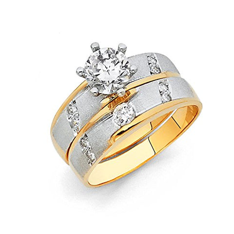 Wellingsale® Ladies Solid 14k Two 2 Tone White and Yellow Gold Polished CZ Cubic Zirconia Round Cut Engagement Ring and Wedding Band, 2 Piece Matching Bridal Set, AAA Grade Highest Quality - Size 8.5