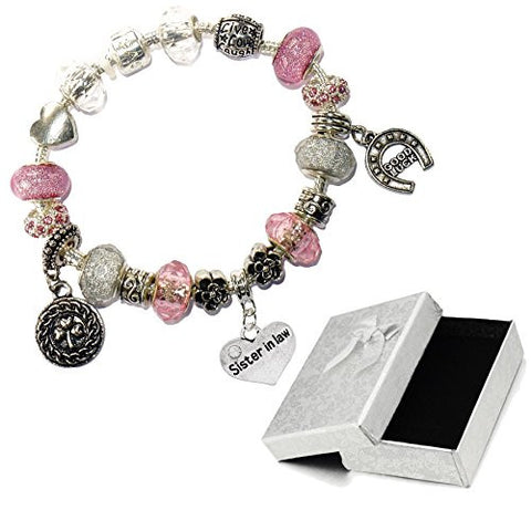 Charm Buddy Sister In Law Pink Silver Crystal Good Luck Pandora Style Bracelet With Charms Gift Box