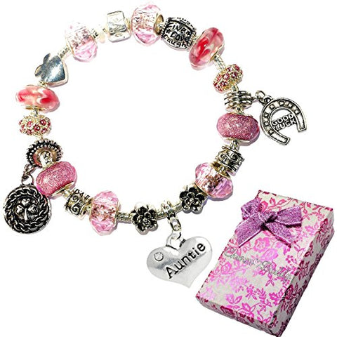 Charm Buddy Auntie Aunt Pink Purple Crystal Good Luck Pandora Style Bracelet With Charms Gift Box