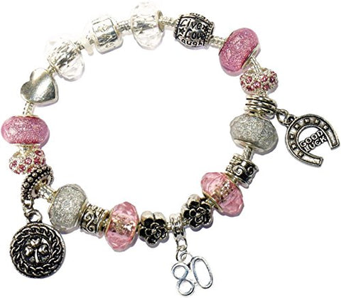 Charm Buddy 80th Birthday Pink And Silver Pandora Style Bracelet With Charms Gift Box Jewelry