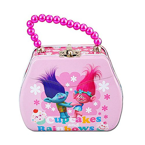 "Dreamworks Trolls Mini Beaded Handle Tin Purse ""Cupcakes and Rainbows"""
