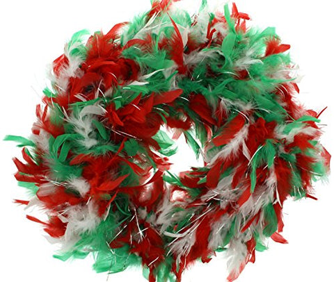 Zac's Alter Ego Women's Christmas Themed Feather Boa With Tinsel One Size Red/ White