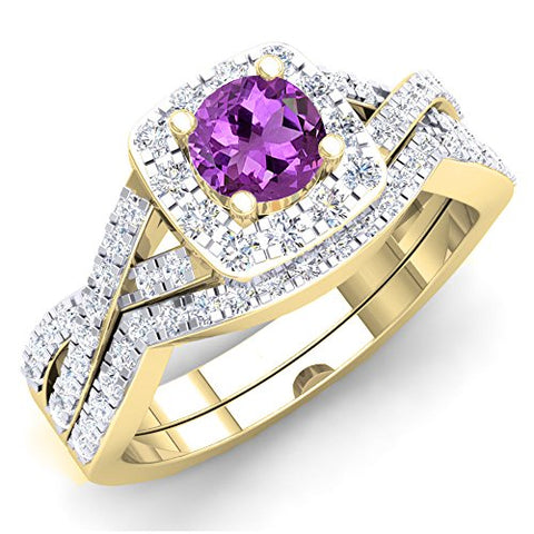 1.55 Carat (ctw) 10K Yellow Gold Amethyst & Cubic Zirconia Bridal Engagement Set 1 1/2 CT (Size 4.5)