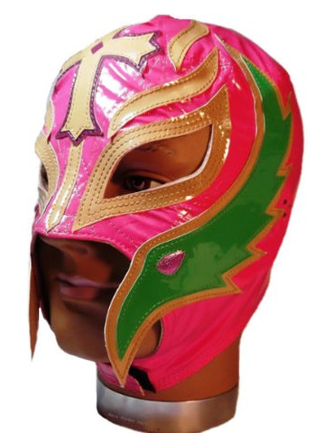 WWE Official Rey Mysterio Youth Size Pink, Green, Gold Wrestling Mask Licensed