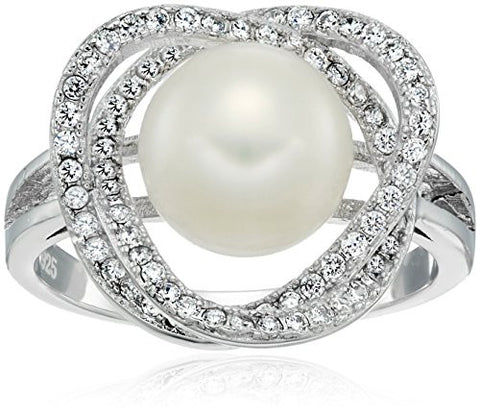 Sterling Silver Freshwater Cultured Pearl and Cubic Zirconia Knot Eternity Ring, Size 7