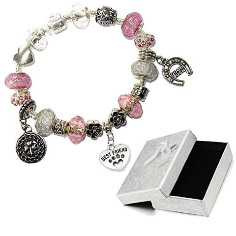 Pet Paw Dog Cat Friend Pink Silver Crystal Good Luck Pandora Style Bracelet With Charms Gift Box