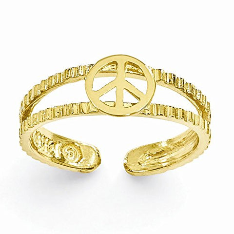 Beautiful Adjustable 14k Yellow Gold Peace Sign Toe Ring