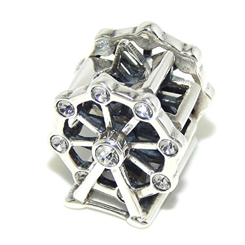 "Solid 925 Sterling Silver ""Ferris Wheel with Clear CZ"" Charm Bead 516 for European Snake Chain Bracelets"