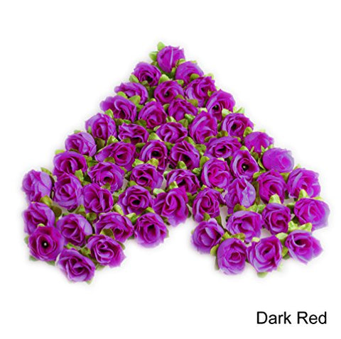 100pcs Silk Rose Heads DIY Wedding Party Home Decor, by Best-topshop (Dark Red)