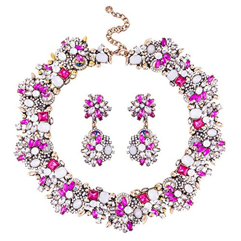 Jane Stone Fashion Gold Collar Necklaces Bling Rhinestone Jewelry Set for Women Girls(Fn1389-Rosy)