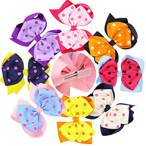 WZT 8Pcs Baby Hairpin Bowknot Hair Clip Colorful Girl's Hair Accessories Multi-colors